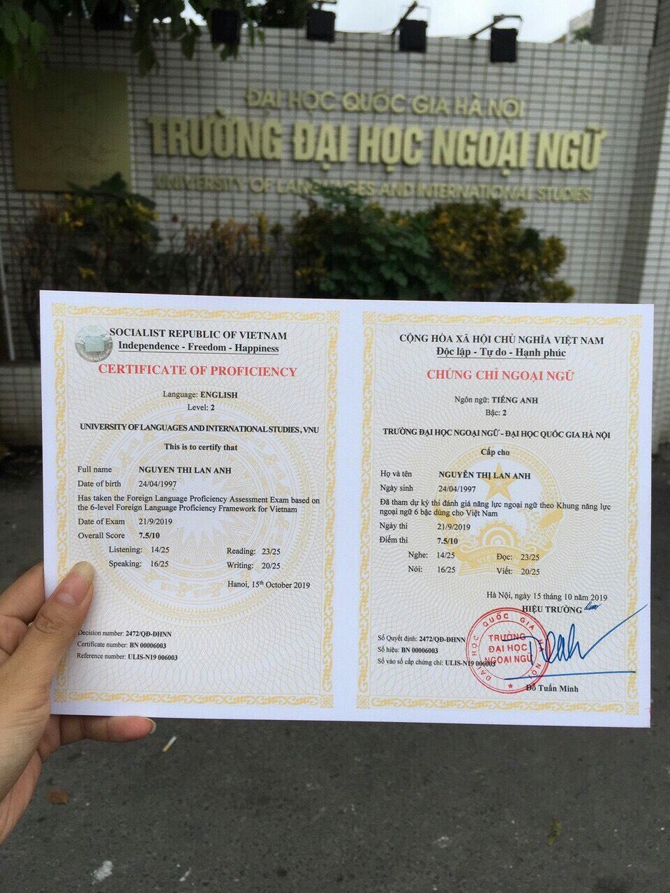 Chứng chỉ Bậc 2 (A2) trường Đại học Ngoại ngữ - Đại học quốc gia HN